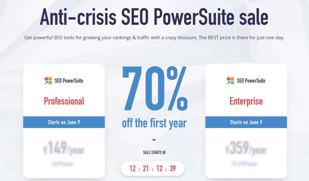 Grab SEO PowerSuite with a 70% discount! The big SEO PowerSuite sale starts on June 9. So set up your alarm clock, put a sticker on your monitor, and check your email box on Tuesday — don't miss the biggest discount.